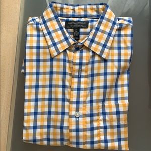 Men's plaid blue, yellow, and white long sleeve